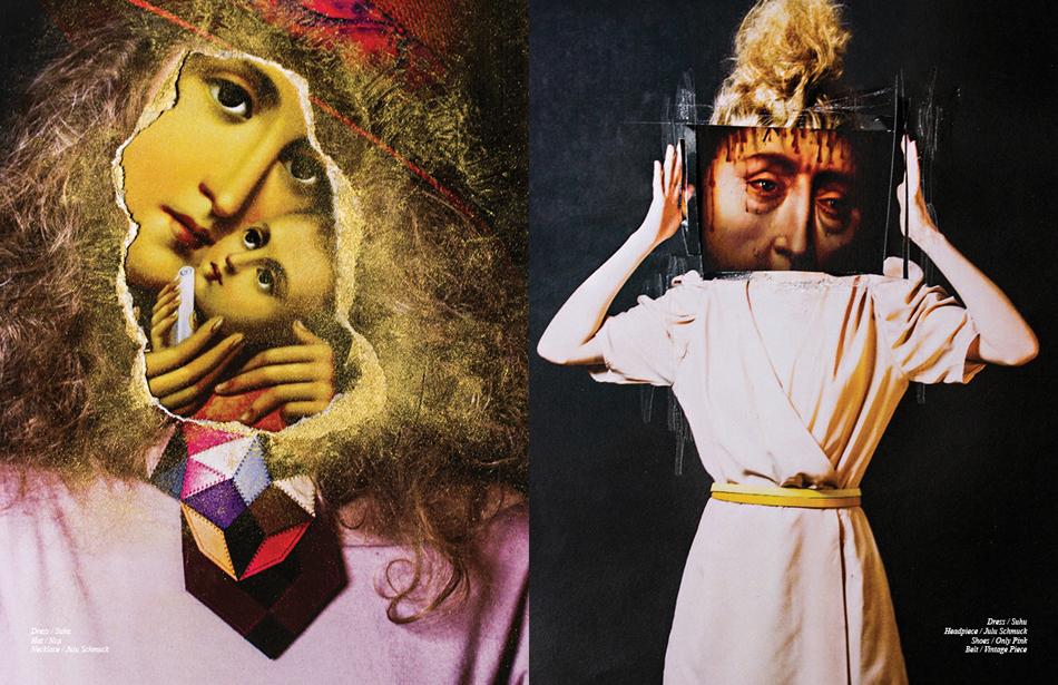 Left Dress / Suhu Hat / Nca Necklace / Julu Schmuck Right Dress / Suhu Headpiece / Julu Schmuck Shoes / Only Pink Belt / Vintage Piece