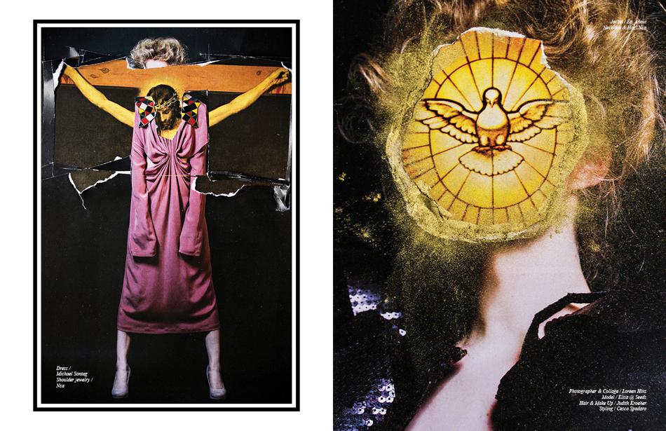 Left Dress / Michael Sontag Shoulder jewelry / Nca  Right Jacket / Ep Anoui Necklace & Hat / Nca