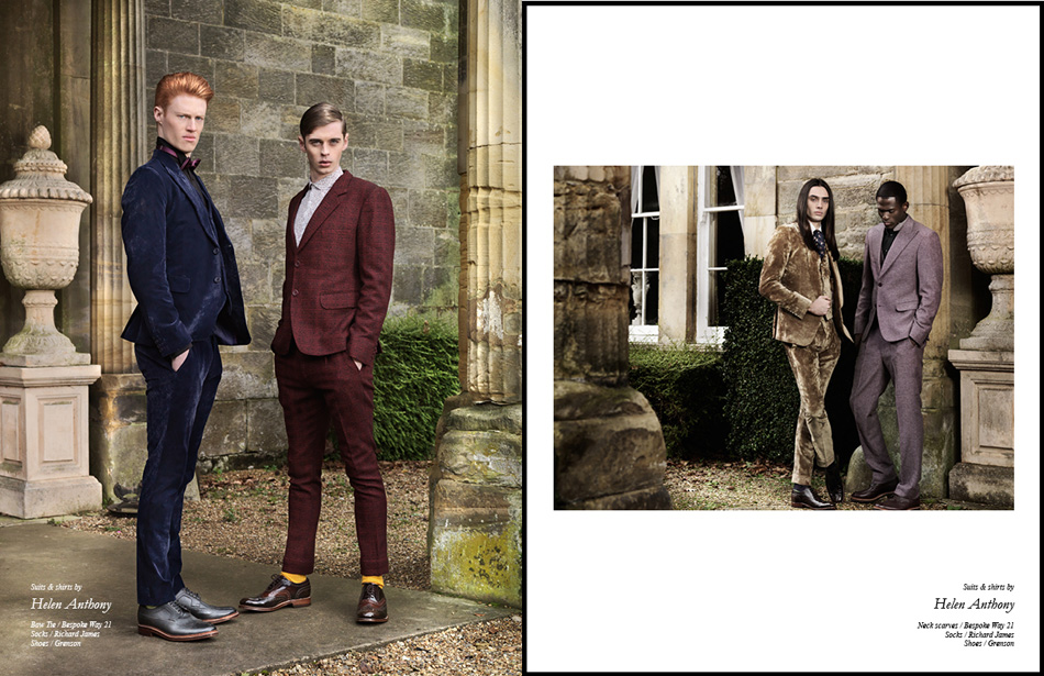 Left Suits & shirts by Helen Anthony Bow Tie / Bespoke Way 21 Socks / Richard James Shoes / Grenson Right Suits & shirts by Helen Anthony Neck scarves / Bespoke Way 21 Socks / Richard James Shoes / Grenson