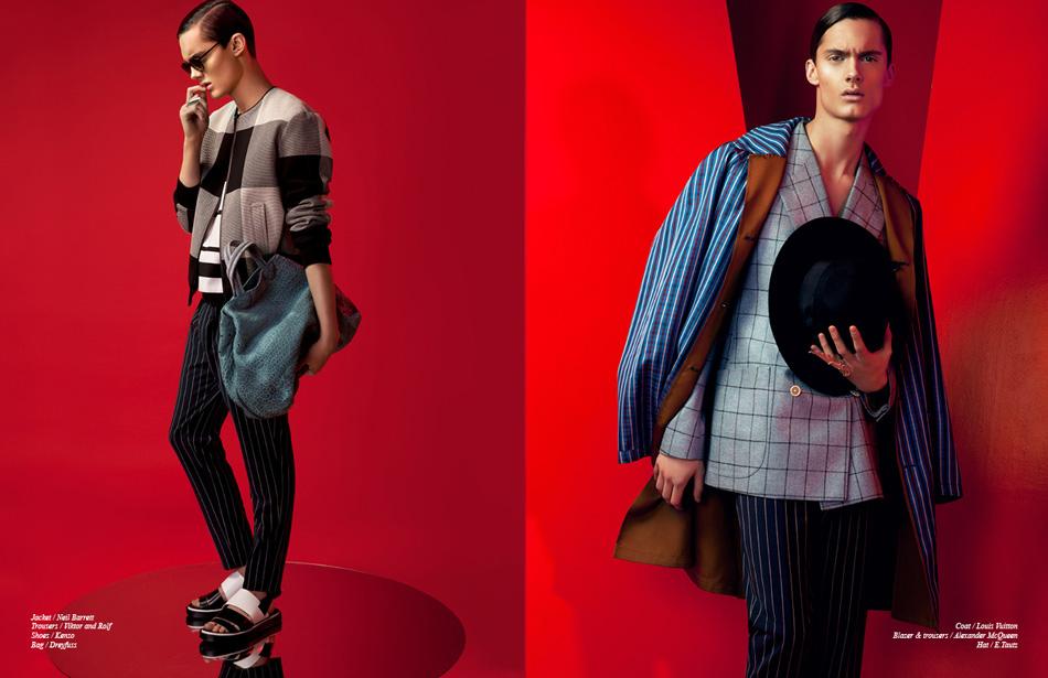Left/ Jacket / Neil Barrett Trousers / Viktor and Rolf Shoes / Kenzo Bag / Dreyfuss Right/ Coat / Louis Vuitton Blazer & trousers / Alexander McQueen Hat / E.Tautz