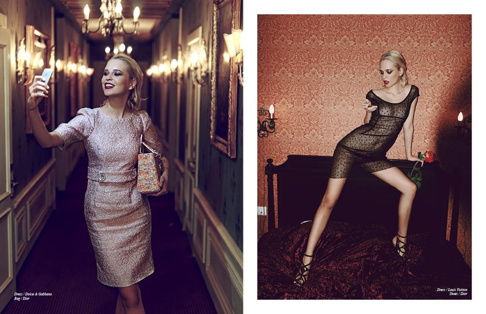 Left Dress / Dolce & Gabbana Bag / Dior Right Dress / Louis Vuitton Shoes / Dior