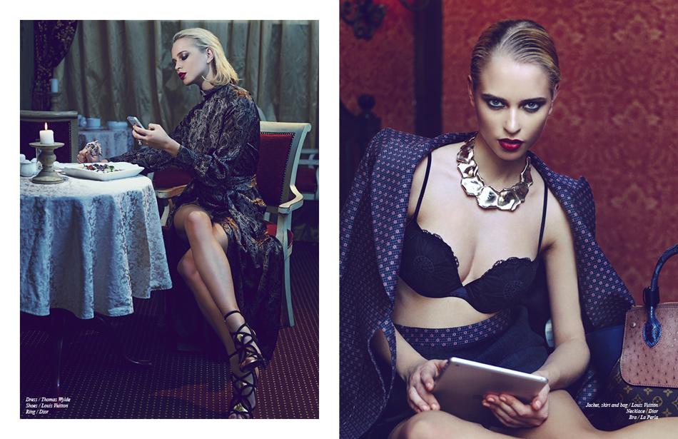 Left Dress / Thomas Wylde Shoes / Louis Vuitton Ring / Dior Right / Dior Jacket, skirt and bag / Louis Vuitton Necklace / Dior Bra / La Perla