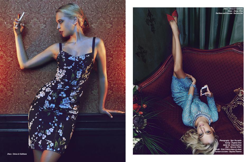 Left Dress / Dolce & Gabbana Right Dress / Dolce & Gabbana Shoes / Jimmy Choo Necklace and bracelet / Barbara Bui