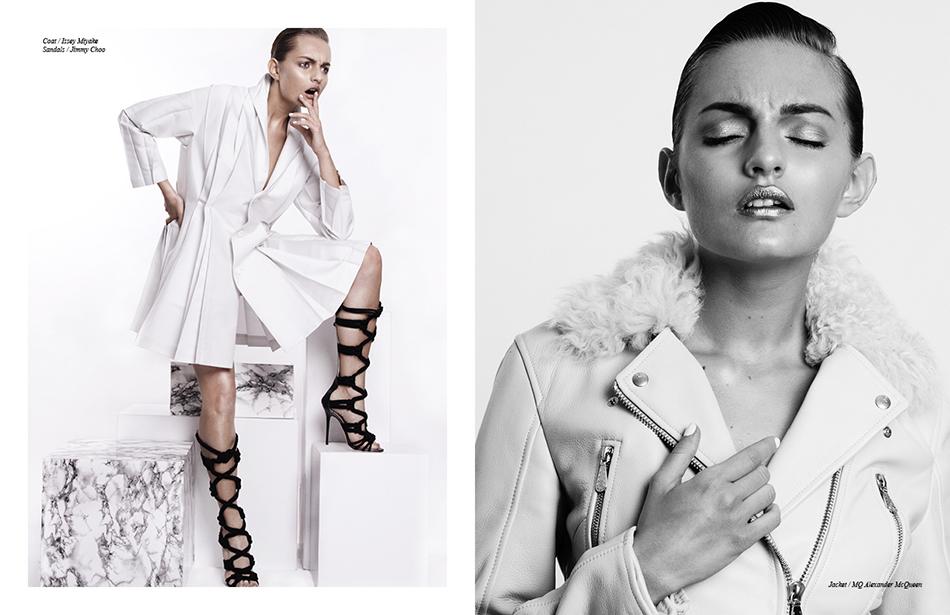 Left Coat / Issey Miyake  Sandals / Jimmy Choo Right Jacket / MQ Alexander McQueen