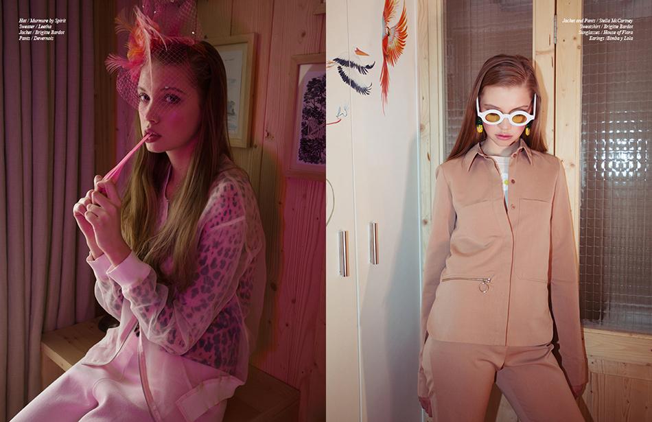Left Hat / Murmure by Spirit Sweater / Leetha Jacket / Brigitte Bardot Pants / Devernois Right Jacket and Pants / Stella McCartney Sweatshirt / Brigitte Bardot  Sunglasses / House of Flora  Earings / Bimba y Lola