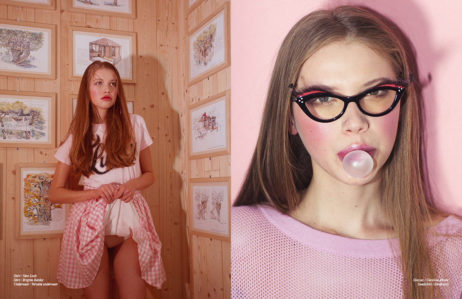 Left Shirt / New Look Skirt / Brigitte Bardot Underwear / Velvette Underwear Right Glasses / Caroline Abram Sweatshirt / Devernois