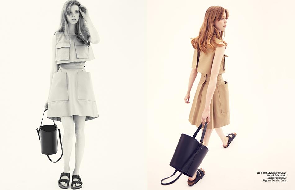 Top & skirt / Alexander McQueen  Bag / & Other Stories Sandals / Birkenstock  Rings and bracelet / Orelia