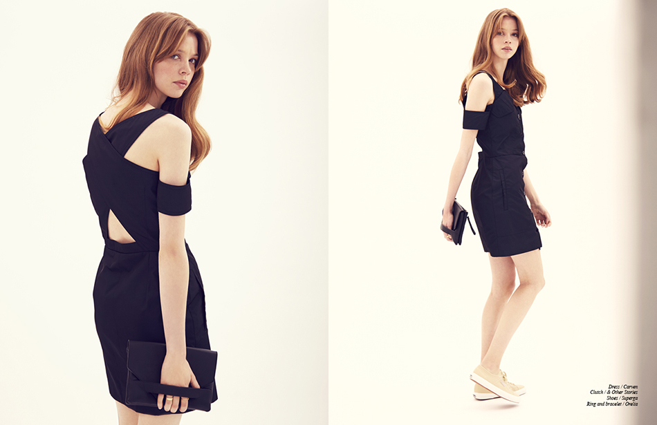 Dress / Carven Clutch / & Other Stories Shoes / Superga  Ring and bracelet / Orelia