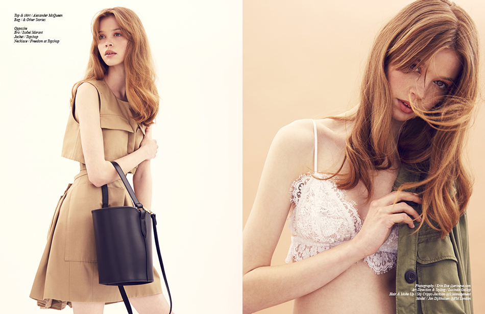 Left Top & skirt / Alexander McQueen  Bag / & Other Stories Right Bra / Isabel Marant Jacket / Topshop Necklace / Freedom at Topshop