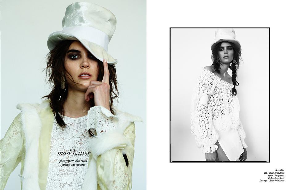 Hat / Dior  Top / Oscar de la Renta  Apron / Jacquemus  Cuffs / Janis Savitt  Earrings / Oscar de la Renta