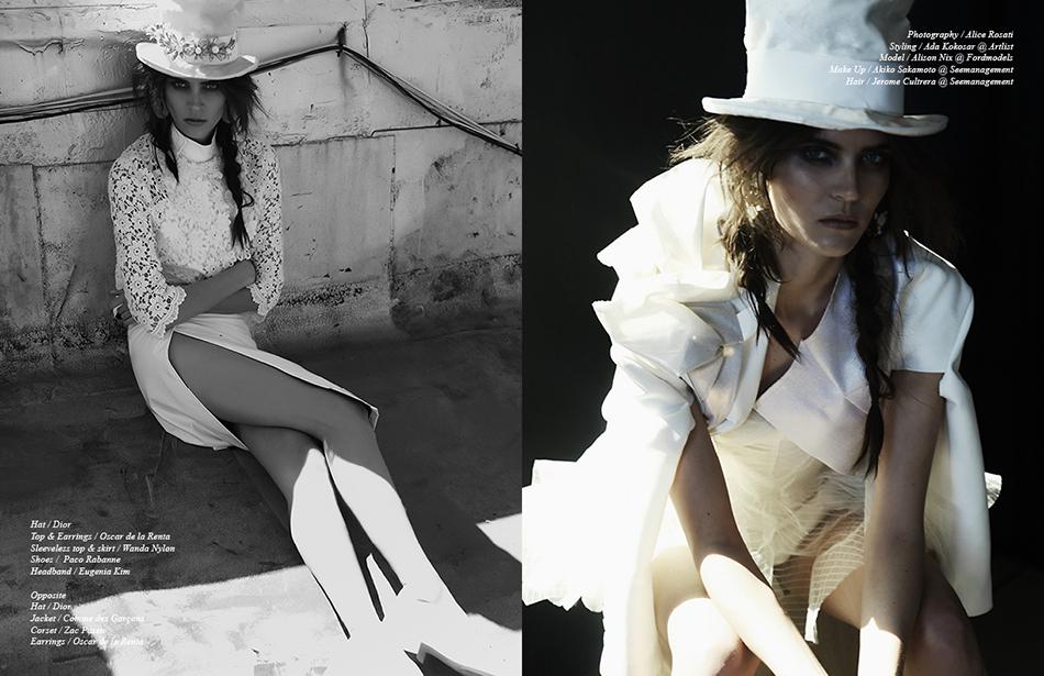Left Hat / Dior Top & Earrings / Oscar de la Renta  Sleeveless top & skirt / Wanda Nylon  Shoes / Paco Rabanne Headband / Eugenia Kim Right Hat / Dior Jacket / Comme des Garçons  Corset / Zac Posen Earrings / Oscar de la Renta