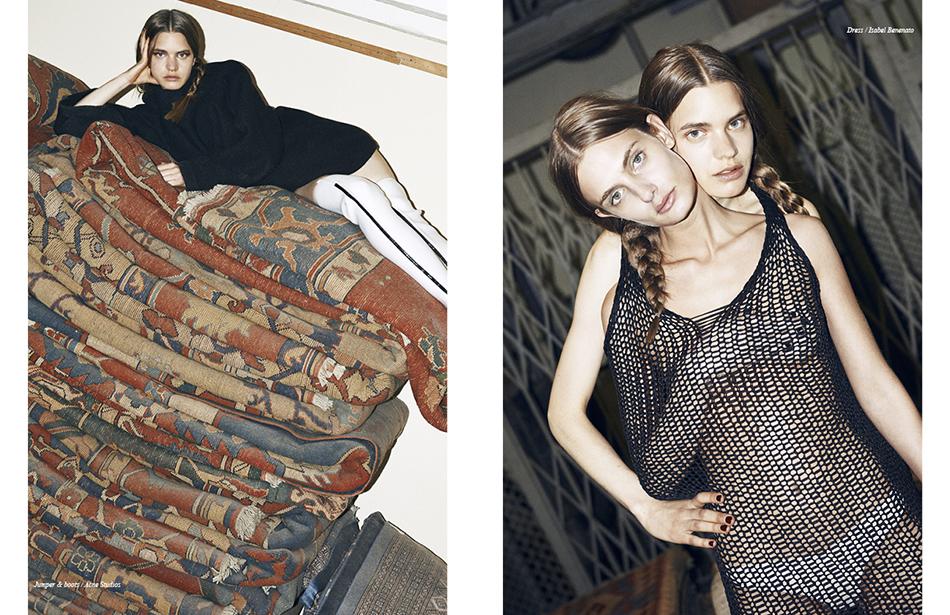 Left Jumper & boots / Acne Studios Right Dress / Isabel Benenato