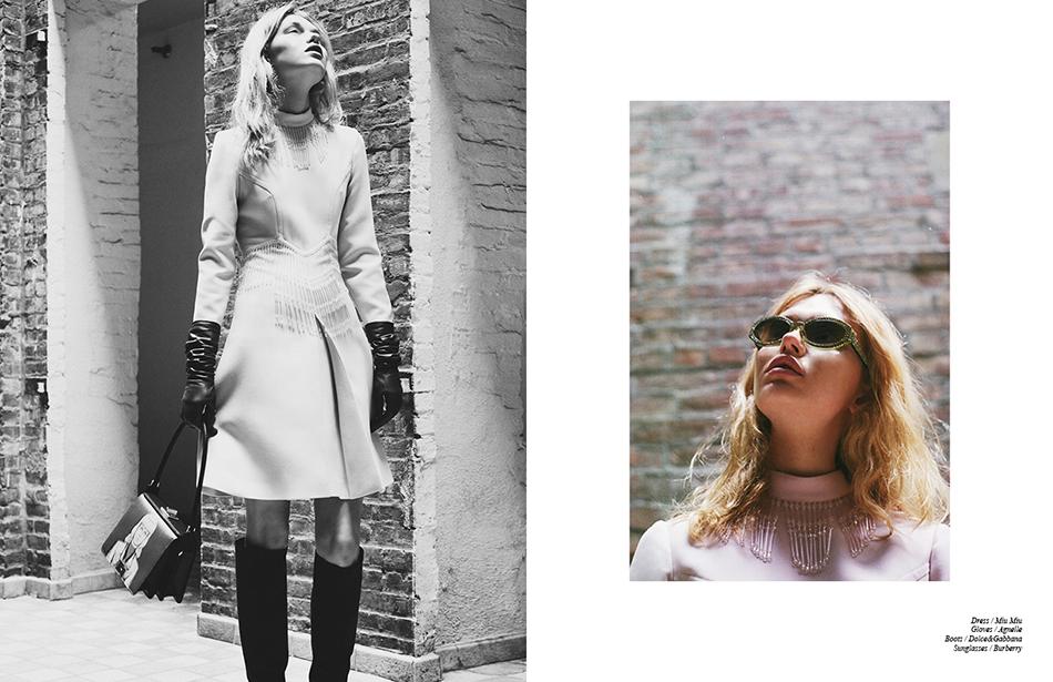 Dress / Miu Miu Gloves / Agnelle  Boots / Dolce&Gabbana Sunglasses / Burberry