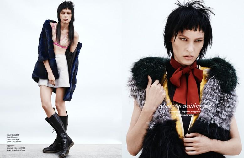 Left Coat / RACHEL Bra / Damaris Skirt / Courrèges Boots / Dr. Martens Right Emerald gilet / RACHEL Dress & neck tie / Prada