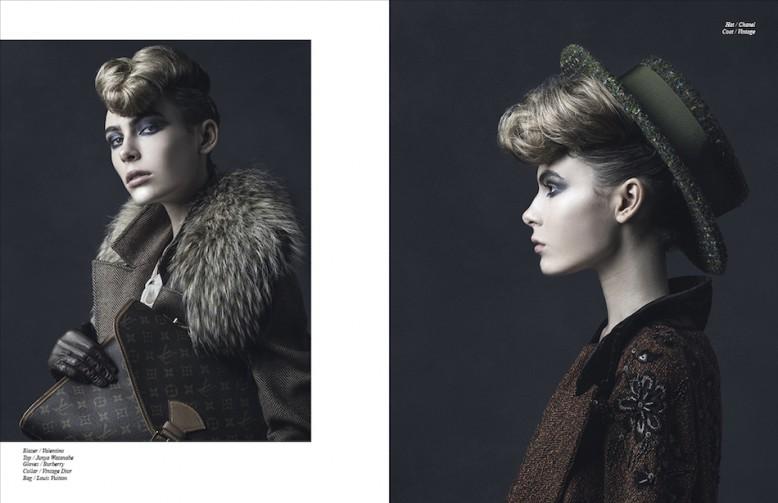 Blazer / Valentino Top / Junya Watanabe Gloves / Burberry Collar / Vintage Dior Bag / Louis Vuitton Opposite Hat / Chanel Coat / Vintage