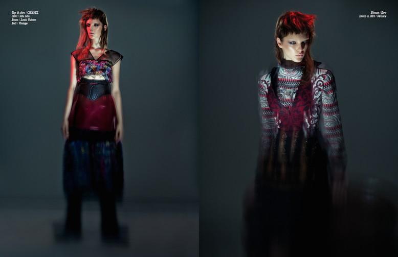 Top & skirt / CHANEL Skirt / Miu Miu Boots / Louis Vuitton Belt / Vintage Opposite Blouse / Etro  Dress & skirt / Versace