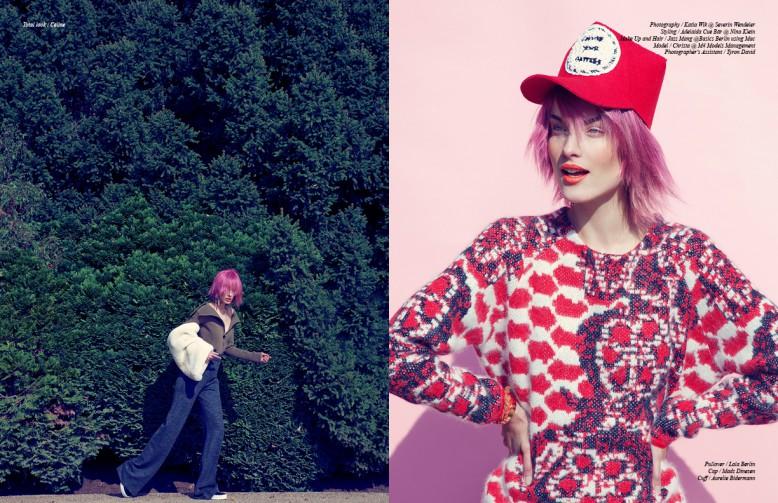 Left: Total look / Céline  Right: Pullover / Lala Berlin  Cap / Mads Dinesen  Cuff / Aurelie Bidermann