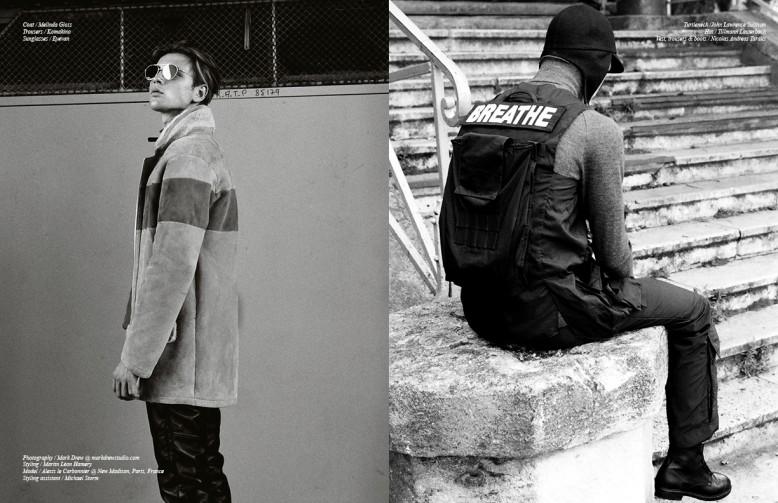 Coat / Melinda Gloss Trousers / Komakino Sunglasses / Eyevan Opposite Turtleneck /John Lawrence Sullivan  Hat / Tillmann Lauterbach  Vest, trousers & boots / Nicolas Andreas Taralis