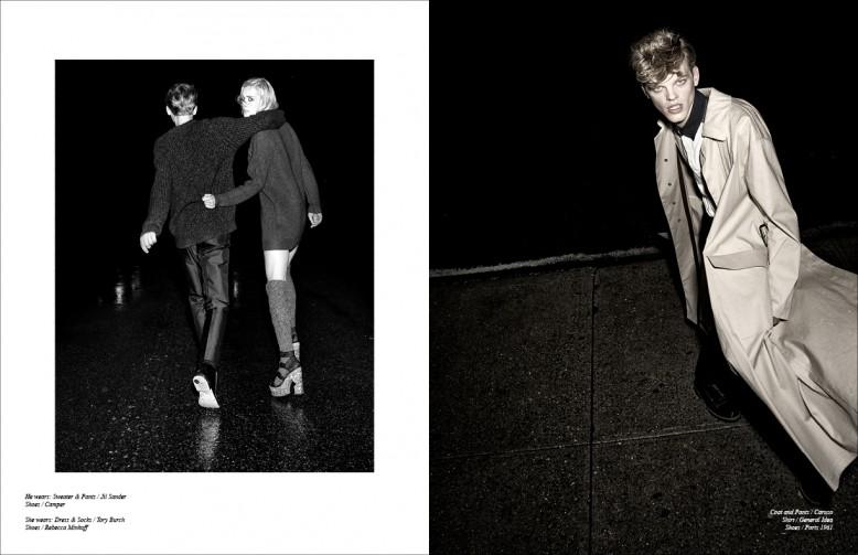 Left Reid wears sweater & trousers / Jil Sander  Shoes / Camper Coat & Trousers / Caruso  Jana wears  Dress & Socks / Tory Burch  Shirt / General Idea  Shoes / Rebecca Minkoff