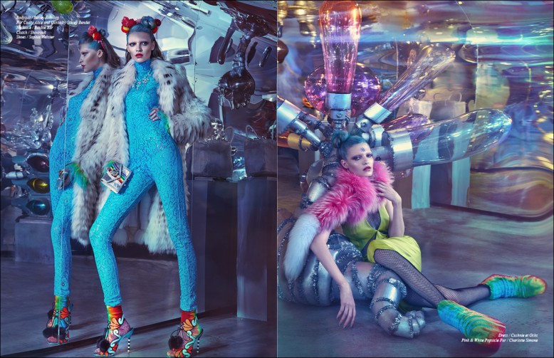 Left to Right/ Bodysuit / Betsey Johnson Fur Coat / Alice and Olivia by Stacey Bendet  Necklace / Bauble Bar Clutch / Shourouk Shoes / Sophia Webster Opposite Dress / Cushnie et Ochs Pink & White Popsicle Fur / Charlotte Simone