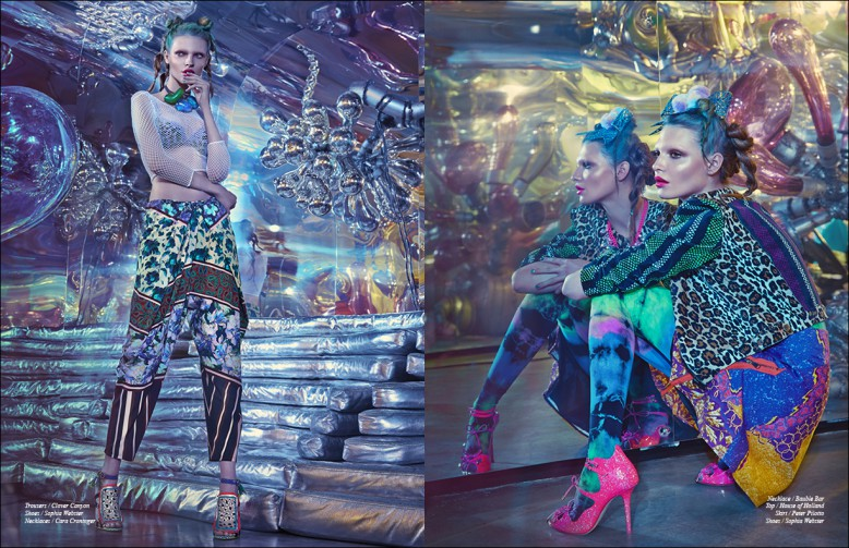 Left to Right/ Trousers / Clover Canyon Shoes / Sophia Webster Necklaces / Cara Croninger Opposite Necklace / Bauble Bar Top / House of Holland Skirt / Peter Pilotto Shoes / Sophia Webster