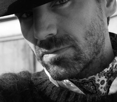 Jumper / Belstaff Shirt / Aquascutum Tie worn as scarf / Christian Dior Archive Hat / Laird Hatters