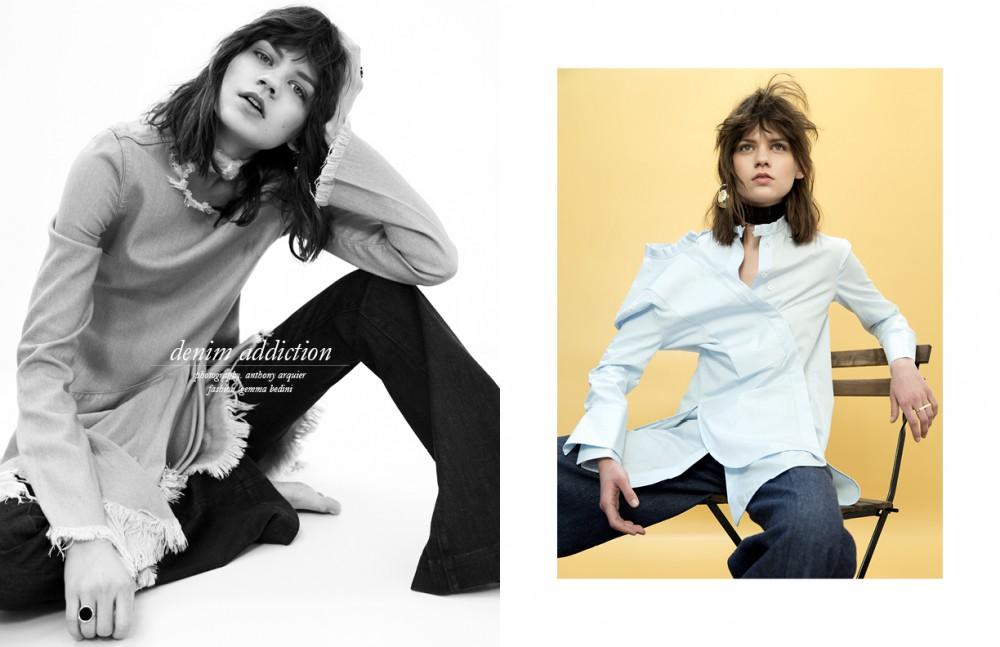 Rings / Ginette NY Dress / Marques Almeida Trousers / Seafarer Opposite Shirt / Ellery Earring / Viveka Bergström Denim Trousers / Martin Grant