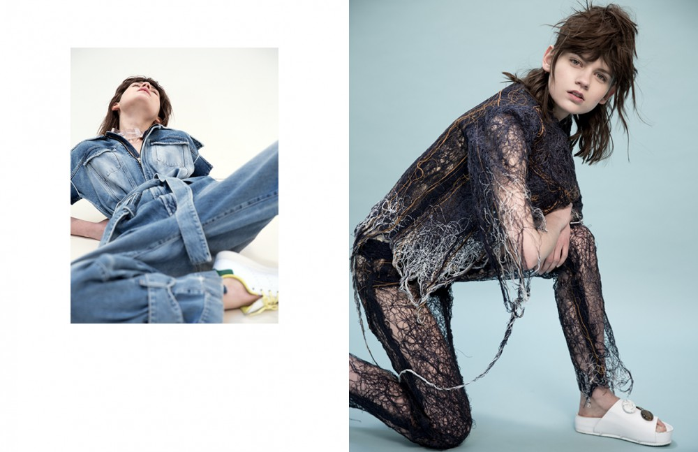 Overall / Off-White Necklace / COS Shoes / Adidas X Bonpoint Opposite Denim Jacket & Trousers / Faustine Steinmetz Shoes / Ellery