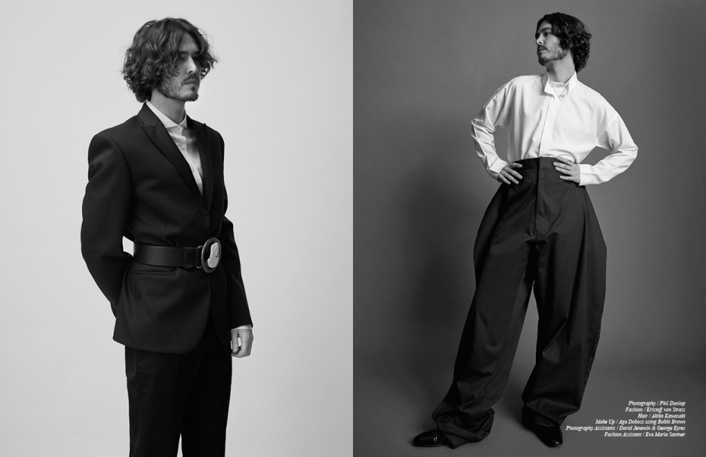 Shirt / Tiger of Sweden Suit / Calvin Klein Collection Belt / KTZ Archive Opposite Shirt / Homme Plissé Issey Miyake Trousers / Christopher Shannon Shoes / Christian Louboutin