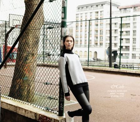 &Coh / Grey Sweatshirt Black Mesh Bodysuit