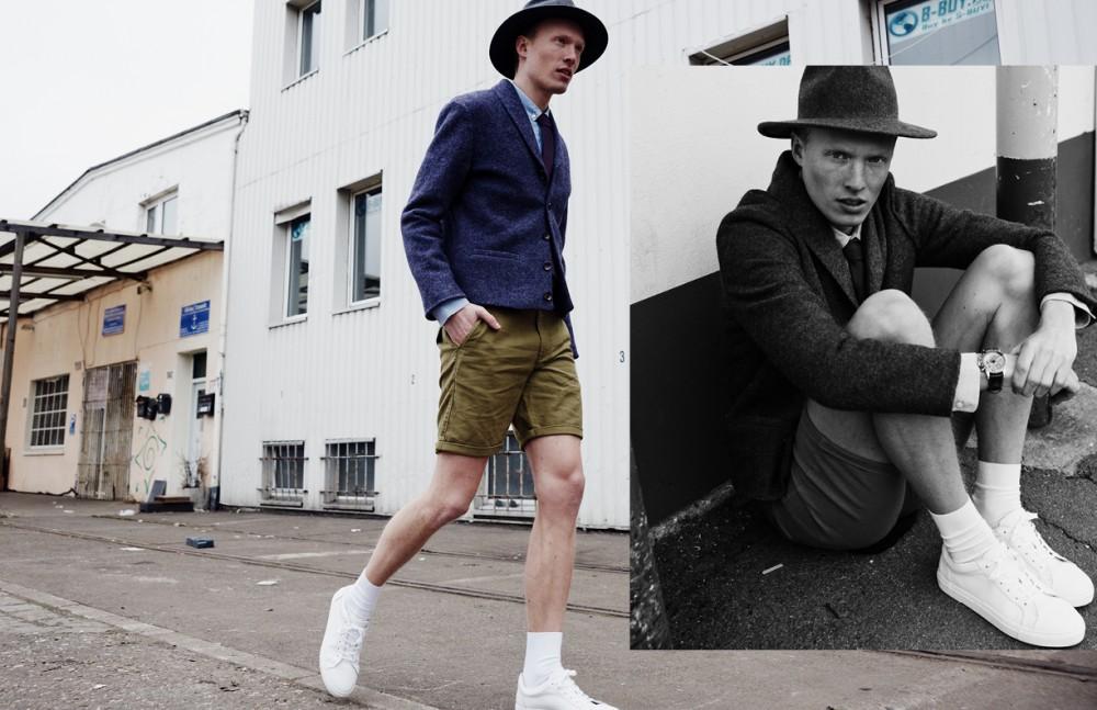 Phillip Wörtmann @ Modelwerk wears Hat / Brixton Shirt / COS Jacket / Herr von Eden Shorts / DRYKORN Socks / FALKE Trainers / COS