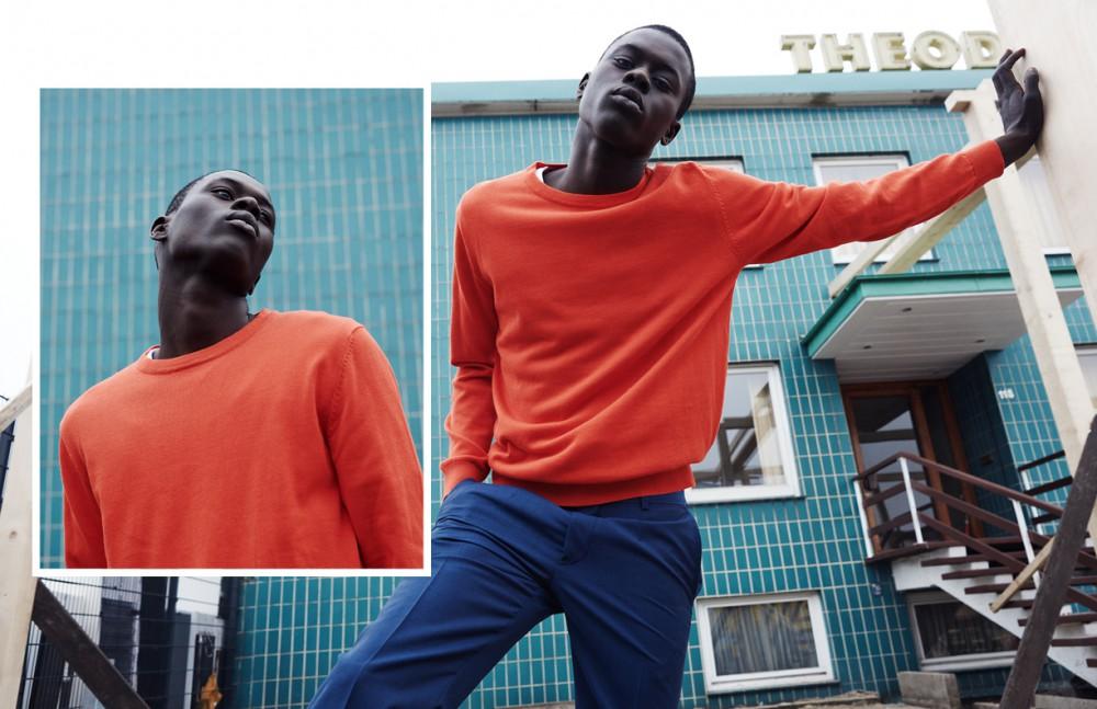 Alpha Dia @ Modelwerk wears T-Shirt / Calvin Klein Jumper / BOSS Orange Trousers / Hugo Boss