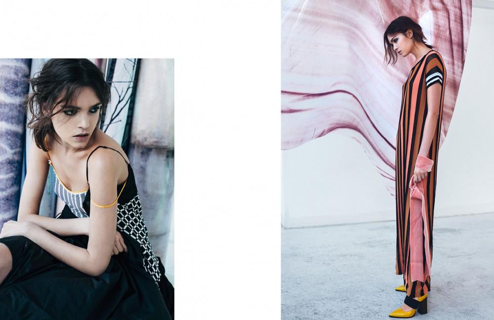 Striped Petticoat / Momoni Printed Dress / I'm Isola Marras by Antonio Marras Opposite Knitted Striped Dress / Jucca Velvet Belt / Alberto Zambelli Shoes / CIVIDINI