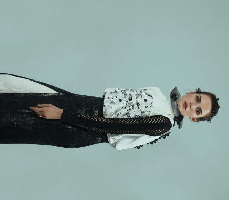 Top / Sacai Mesh top / Véronique Leroy Ring / Carlo Maria Pelagallo Skirt / Sonia Rykiel Trousers / Marco de Vincenzo
