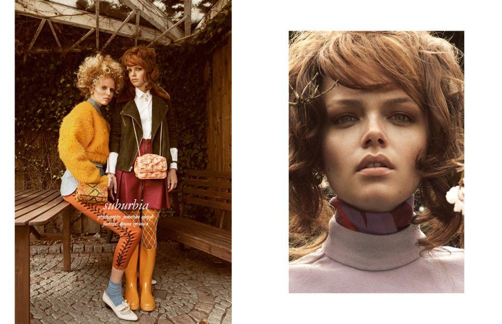 Rosali @Mega (Left) wears Shirt / See by Chloé Jumper / Danny Reinke Belt / Brooks Brothers Earrings / Konplott Python Leather Bag / a-cuckoo-moment Trousers / Dimitri Socks / Hudson Shoes / Vintage Nicole @Mega (Right) wears Suede Jacket / Samsøe & Samsøe Shirt / SOS the studio Mustard Tights / Falke White Net Tights / Wolford Roche Leather Bangle & Scarab Necklace / a-cuckoo-moment Bag / Benedetta Bruzziches Rain Boots / Veuve Clicquot Opposite Nicole @Mega (Right) wears Top / Danny Reinke Blouse / Byblos Milano