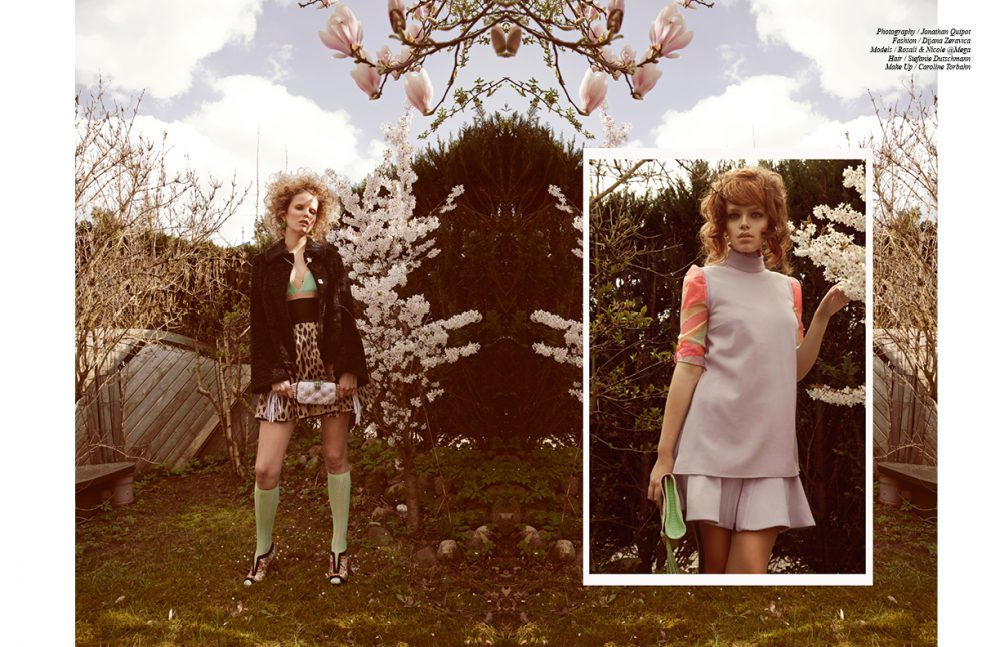 Rosali @Mega (Left) wears Dress / Fausto Puglisi Necklace / lolaandgrace Jacket / Antoinette Earrings / a-cuckoo-moment Nappa Leather Clutch / Benedetta Bruzziches Knee Highs / H&M Shoes / Intramontabile Nicole @Mega (Right) wears Top & Skirt / Danny Reinke Blouse / Byblos Milano Python Leather Clutch / a-cuckoo-moment