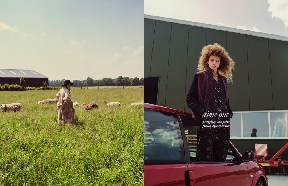 Guusje wears Coat / Monki Hat / Samsoe Samsoe Opposite Nina wears Jumpsuit / Baum Pferdgarten Bomber / Drykorn