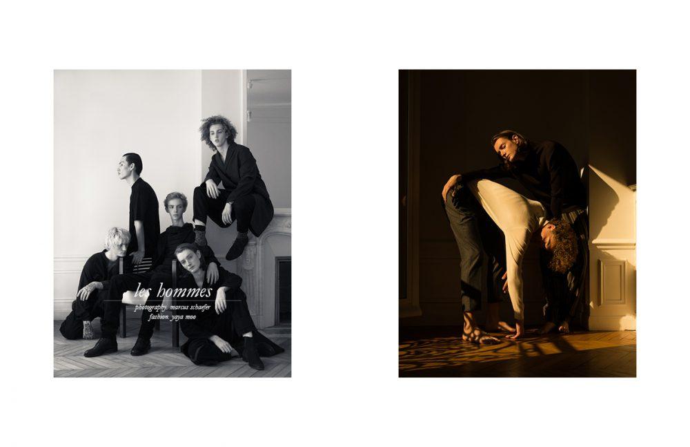 Theo @Premium Models wears Turtleneck Jumper / agnès b Trousers / Isabel Benenato Marin @Premium Models wears Turtleneck Jumper / Uniqlo Trousers / Officine Générale Opposite Paul @Rockmen wears Boiler Suit / Isabel Benenato Boots / agnès b Thibault @Premium Models wears Hoodie Jumper / Y-3 Jacket / Dirk Bikkembergs Trousers / UNIQLO Shoes / Maison Kitsuné Hiroki @DIVINE wears Shirt / The White Briefs Trousers / KENZO Boots / Dirk Bikkembergs Plated Silver Rings / Delphine-Charlotte Parmentier Marin @Premium Models wears Coat / OAMC Trousers / AMI Socks / Royalties Paris Shoes / agnès b Plated Silver Rings / Delphine-Charlotte Parmentier Theo @Premium Models wears Coat / agnès b Trousers / Y-3 Socks / FALKE Shoes / Roberto Cavalli