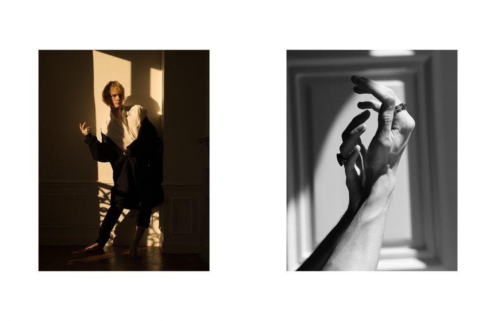 Paul @Rockmen wears White Shirt / HED MAYNER Coat / Études Studio Trousers / agnès b Ring / Delphine-Charlotte Parmentier Opposite Marin @Premium Models & Theo @Premium Models wears Left Hand: Signet Ring / Tant d'Avenir Right Hand: Ring / Delphine-Charlotte Parmentier