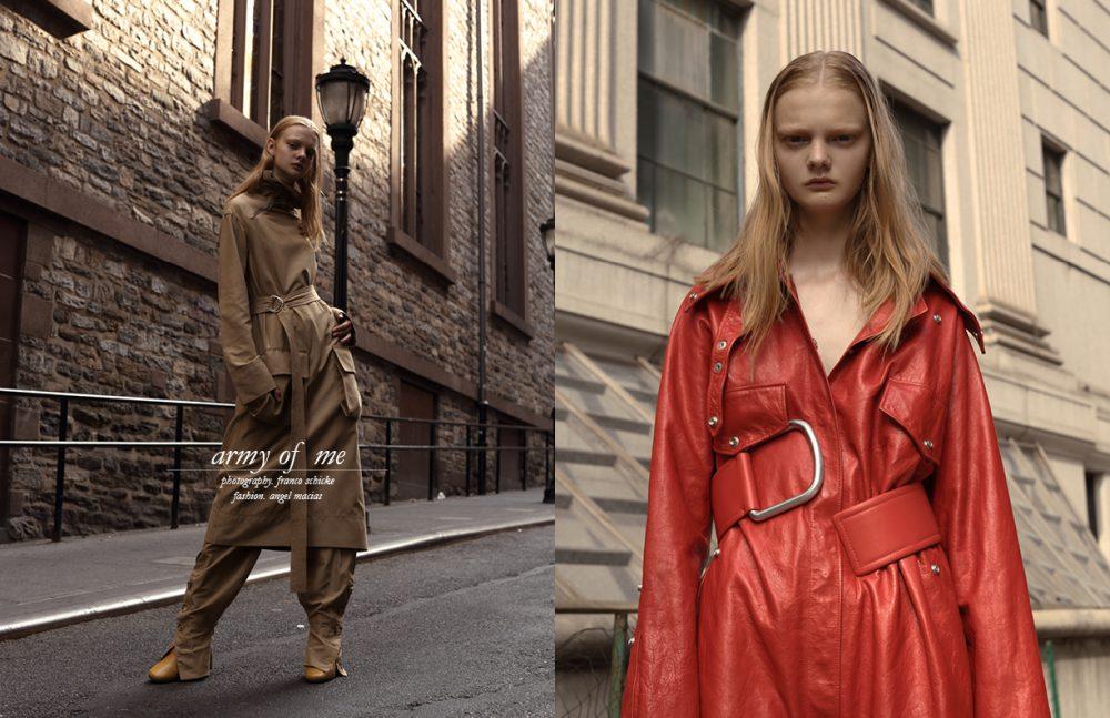 Dress, trousers & boots / Céline Opposite Jumpsuit & belt/ Acne Studios