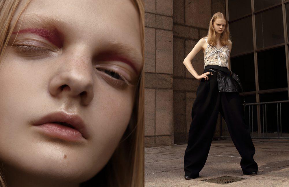 Top / Carven  Trousers / Off-white  Bag / Céline  Boots / Ellery