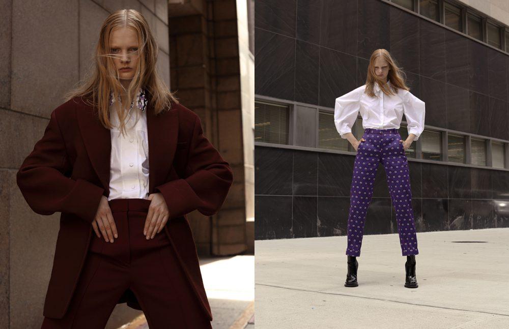 Shirt / KENZO  Blazer & trousers / JOSEPH Opposite Shirt / Delpozo  Trousers & boots / Carven