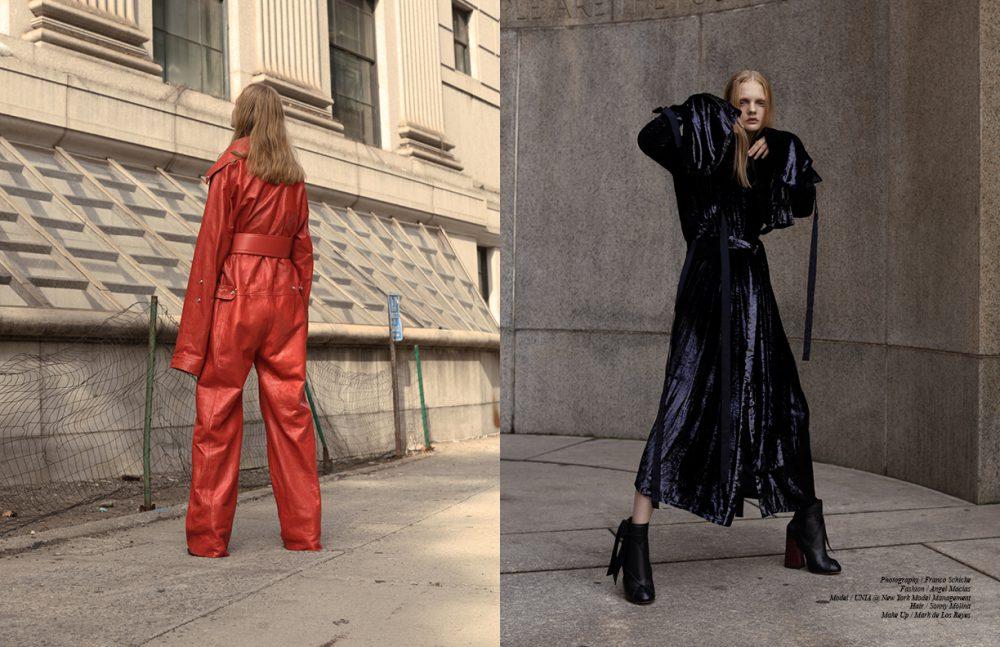 Jumpsuit, belt & boots / Acne Studios Opposite  Dress / Ellery