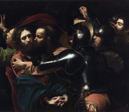 Michelangelo Merisi da Caravaggio The Taking of Christ, 1602 Oil on canvas 133.5 x 169.5 cm On indefinite loan to the National Gallery of Ireland from the Jesuit Community, Leeson St., Dublin who acknowledge the kind generosity of the late Dr Marie Lea-Wilson Photo © The National Gallery of Ireland, Dublin