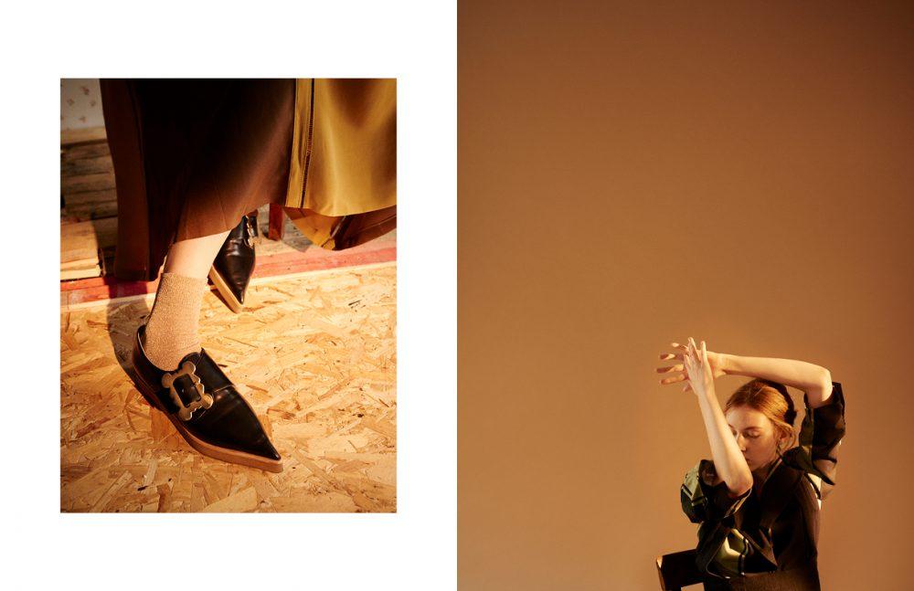 Dress / Burberry Shoes / Vivienne Westwood   Socks / Tabio Opposite Jacket / Vivienne Westwood Skirt / JOSEPH
