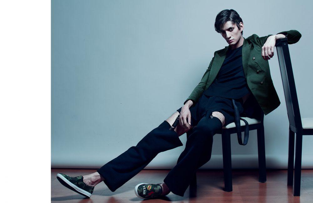 Shirt / Aldo Rendón Coat / Tommy Hilfiger  Trousers / PUMA Shoes / Rabia Suspenders / American Apparel
