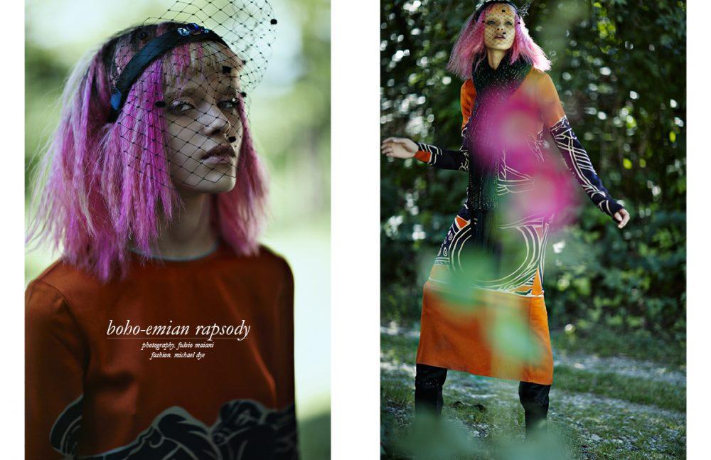 Dress / Tory Burch Headpiece / Monique Lee Opposite Dress / Tory Burch Scarf / Trussardi Jeans Boots / Barbara Bui Headpiece / Monique Lee