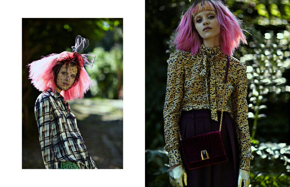 Shirt / Trussardi Skirt / M Missoni Headpiece / Monique Lee Opposite  Trousers / Hugo Boss Shirt / Ermanno Scervino Brooch / Ellen Conde Gloves / Paula Rowan Bag / Arte Facta