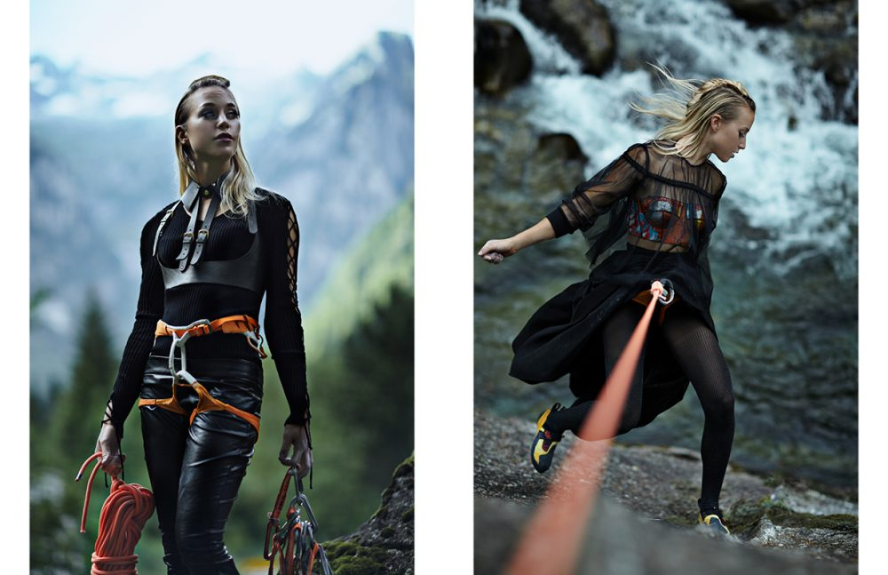 Jumper / TWINSET Simona Barbieri Tuxedo  Harness / ABSIDEM Leggings / Manila Grace  Climbing gear / Petzl Opposite Blouse & skirt / Domenico Ciof   Bustier / Leitmotiv Black  Stockings with strass (rhinestone) / Wolford  Climbing gear / Petzl