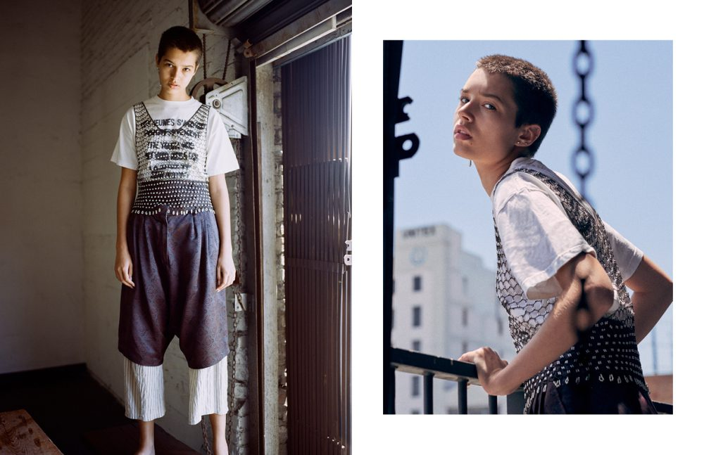 T-Shirt / Supreme (vintage) - the youth are getting restless Top / Vintage Shorts / Dries Van Noten (vintage)  Trousers / caron callahan Earring / Shikama